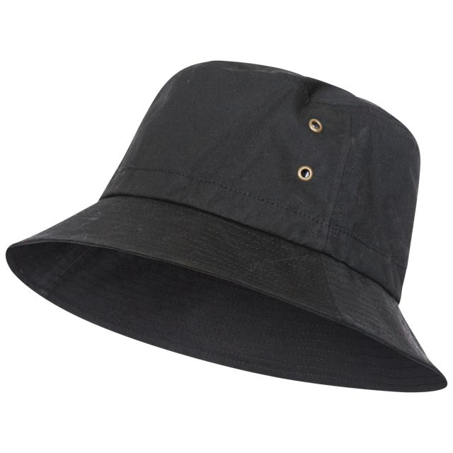 Trespass Adults Bucket Hat Black Inner Check Detail Waxy Black, Front view of hat