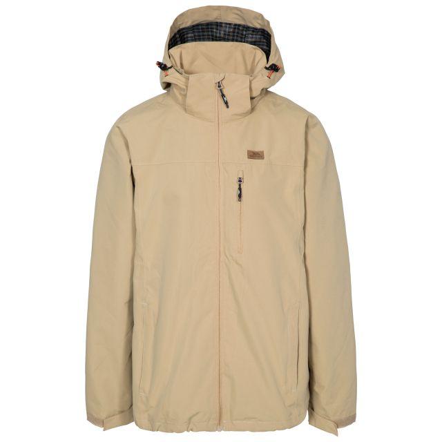 Weir Men's Waterproof Jacket in Tan, Front view on mannequin