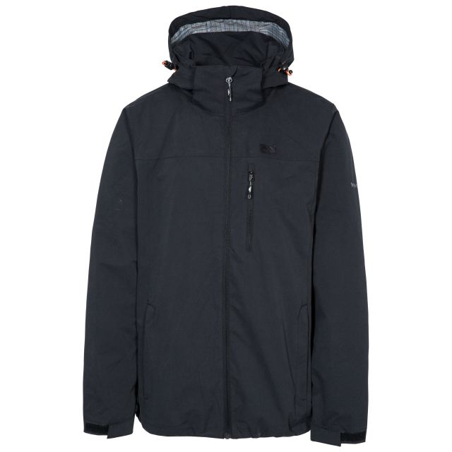 Weir Men's Waterproof Jacket in Black, Front view on mannequin