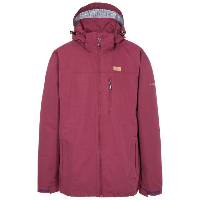 Weir Men's Waterproof Jacket in Purple, Front view on mannequin
