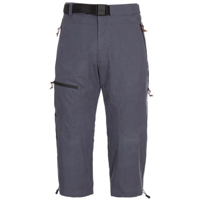 Wellbake Men's 3/4 Length Trousers in Grey, Front view on mannequin
