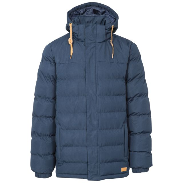 Westmorland Men's Hooded Padded Jacket in Navy, Front view on mannequin