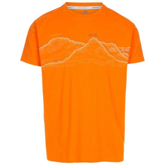 Trespass Men's Casual Short Sleeve T-Shirt Westover Orange, Front view on mannequin