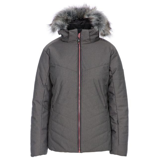 Wisdom Women's Waterproof Ski Jacket in Grey, Front view on mannequin
