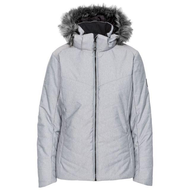 Wisdom Women's Waterproof Ski Jacket in Light Grey, Front view on mannequin
