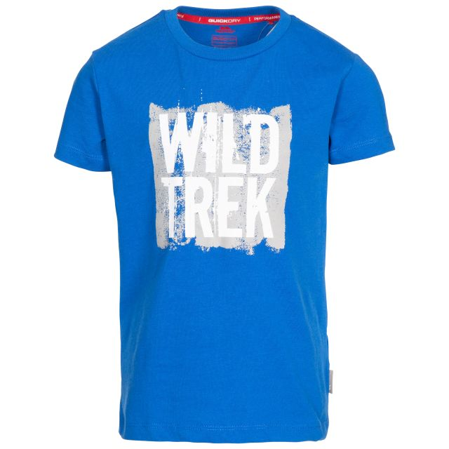 Zealous Kids' Printed T-Shirt in Blue, Front view on mannequin