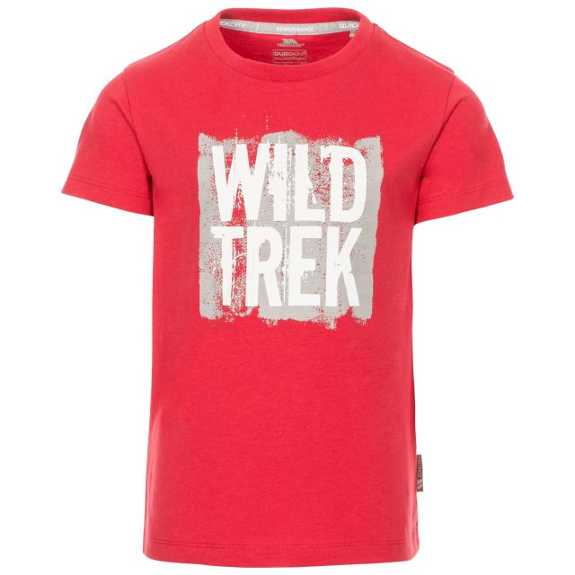 Zealous Kids' Printed T-Shirt in Red, Front view on mannequin