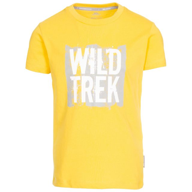 Zealous Kids' Printed T-Shirt in Yellow, Front view on mannequin