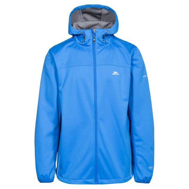 Zeek Men's Softshell Jacket in Blue, Front view on mannequin