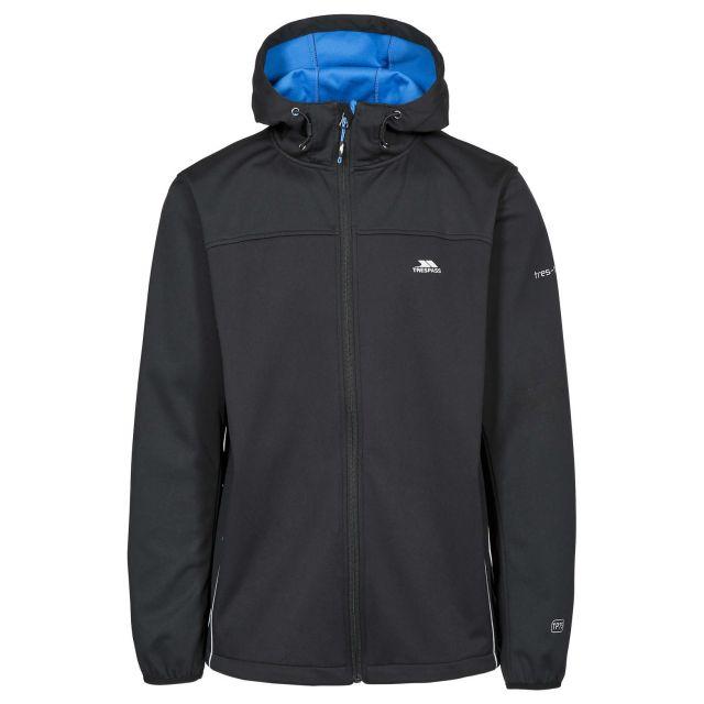 Zeek Men's Softshell Jacket in Black, Front view on mannequin