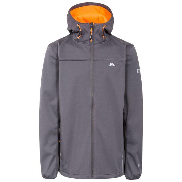 Zeek Men's Softshell Jacket in Grey, Front view on mannequin