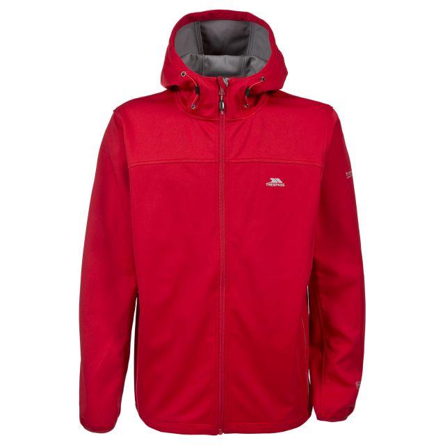 Zeek Men's Softshell Jacket in Red, Front view on mannequin