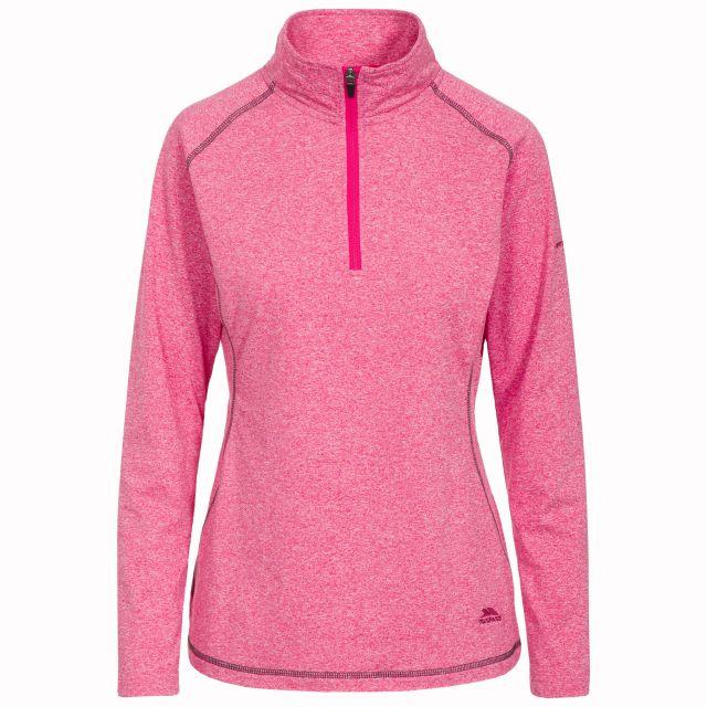 Zirma Women's 1/2 Zip Long Sleeve Active Top in Pink, Front view on mannequin