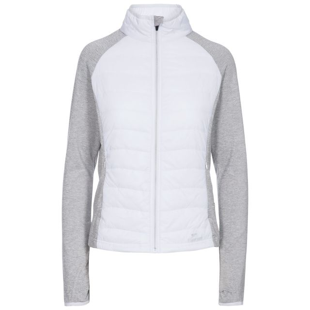 Zorina  Women's Padded Active Jacket in White, Front view on mannequin